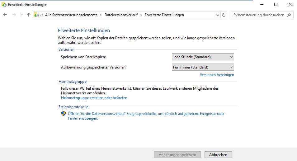 Dateiversionsverlauf in Windows 10 - Erweiterte Einstellungen