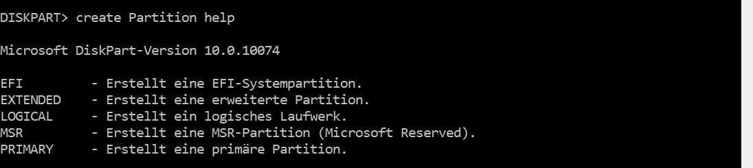 how to create a partition using diskpart