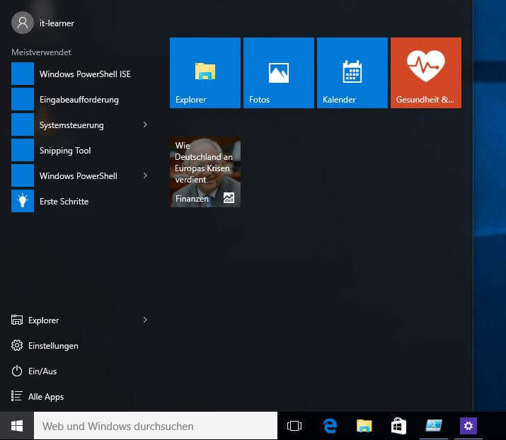 Normales Startmenü in Windows 10