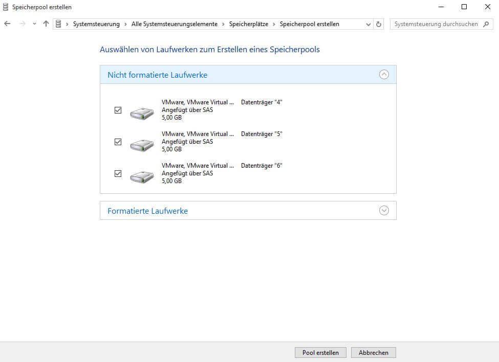 Auswahl der Festplatten für den Speicherplatz in Windows 10