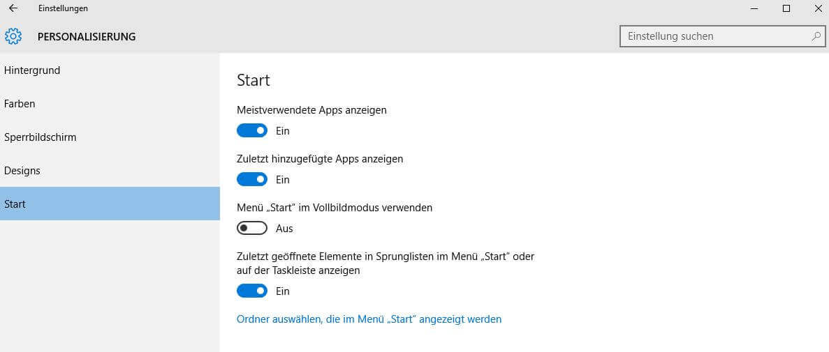 Windows 10 Startmenü konfigurieren