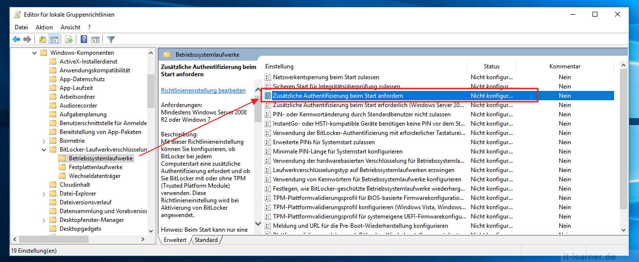 Bitlocker in Windows 10 aktivieren | IT-Learner