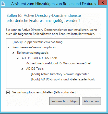 Server 2012R2: AD Feature Auswahl