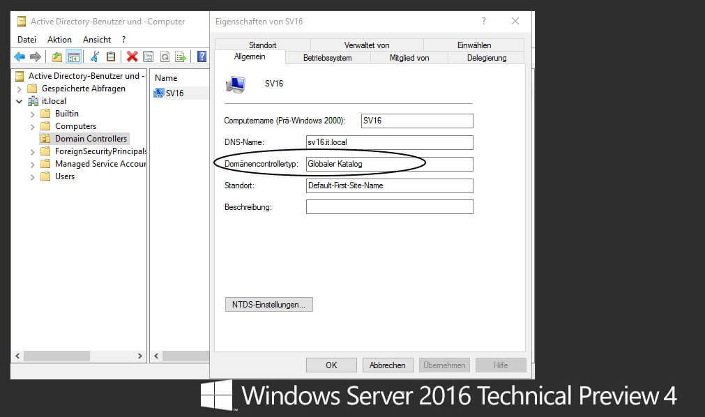 Der Gobale Katalog im Server 2016