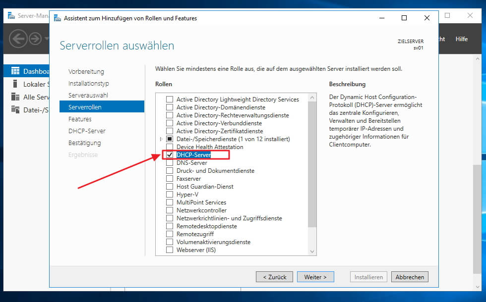 Installation und Konfiguration des DHCP Dienstes im Server 2016 - Installation per Server Manager