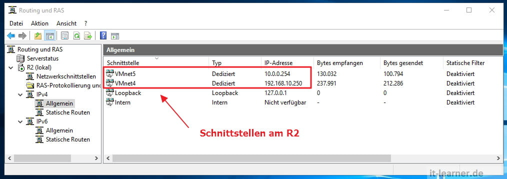 Routing mit Server 2016 - Routing und RAS - IP Einstellungen