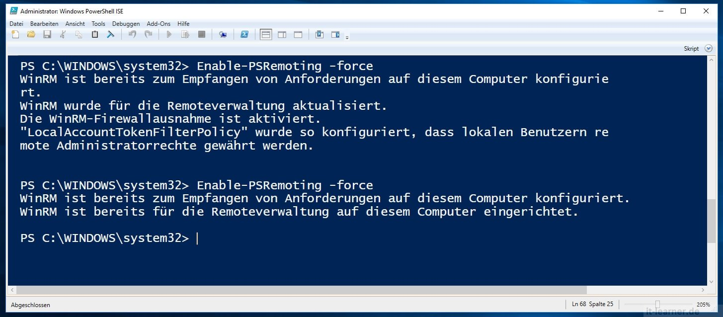 Powershell Befehle an Remote Rechner   IT-Learner