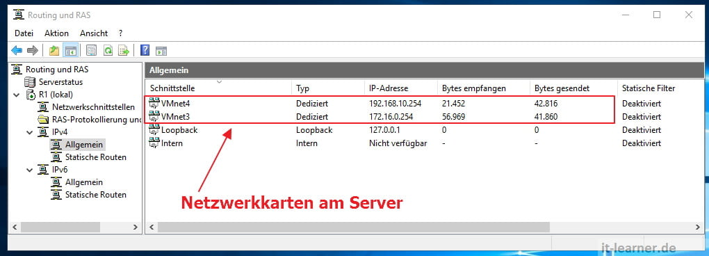 Routing am Server 2016 - Remotezugriff - Routing & RAS Tabelle