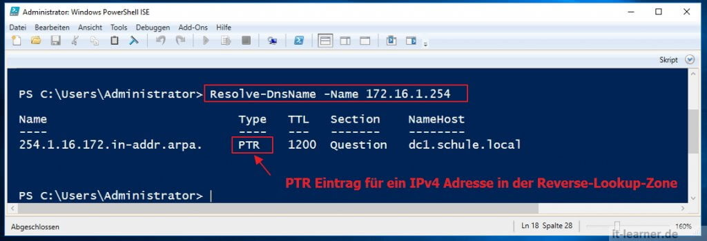 Mit der Windows Powershell die Namensauflösung prüfen - Reverse-Lookup-Zone - Resolve-DnsName