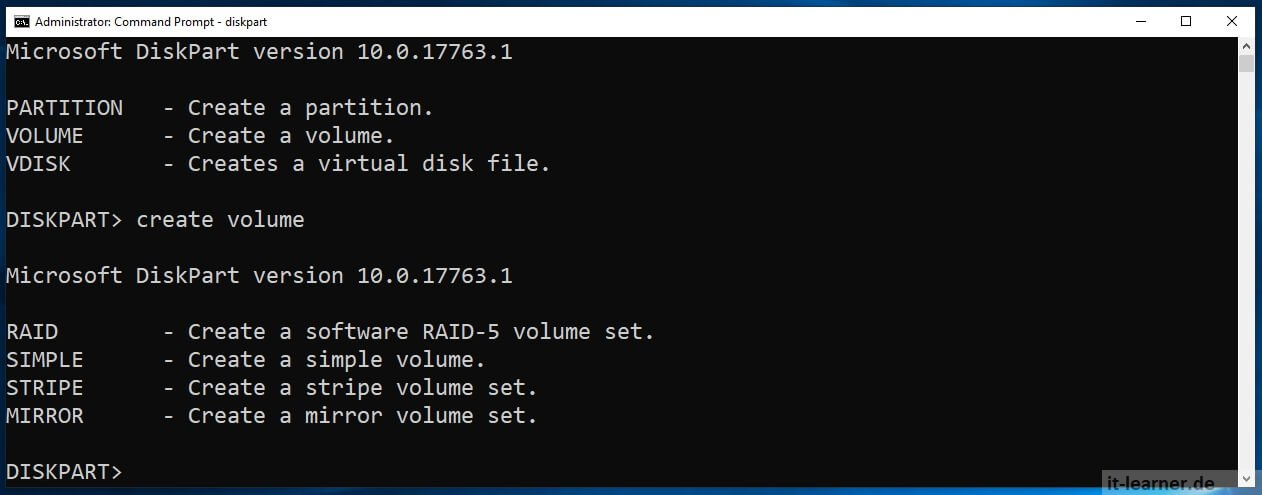 How to configure an hard disk on windows - diskpart help