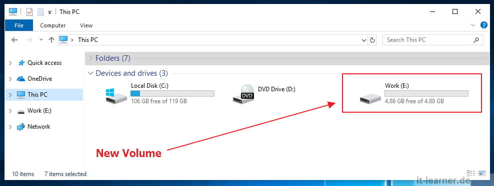 How to create a new Volume with diskpart unter Windows