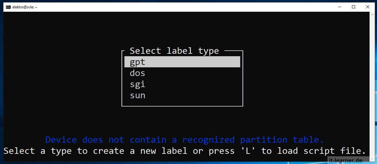 Am Linux Ubuntu Server einen neue Festplatte konfigurieren - mit cfdisk